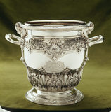 A close-up of a silver wine cooler, 1710, by Philip Rollos on display on the Museum Landing at Ickworth