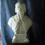 A close-up detail of the bust of King Alfred The Great, carved in 1764 by Rysbrack in the Library Ante-Room
