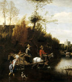 CROSSING THE FORD by Jan Siberechts (1627-1703) in the Gallery in Melford Hall