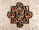 The Dryden Family coat of arms set into the plasterwork ceiling of the Drawing Room at Canons Ashby