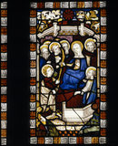 Stained glass panel representing The Virgin and St John