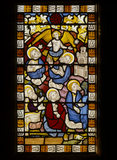 Stained glass panel representing The Apostles assembled