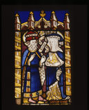 Stained glass panel representing St Anne and Cleophas