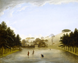 UPTON HOUSE by Anthony Devis showing the frozen lake with Georgian gentlemen skating