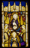 Stained glass panel representing the Virgin in Glory