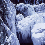Icicle clusters at the bottom of the Devil's Kitchen waterfall