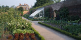 View of the Walled Kitchen Garden at Beningbrough Hall showing the peach house