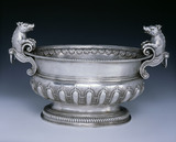 A William III wine cistern by Philip Rollos, 1701, (DUN.S.310) part of the silver collection at Dunham Massey, photographed for the Country House Silver book.