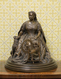Bronze statuette of Queen Victoria at her spinning wheel, by Sir Joseph Edgar Boehm (1834-1890)