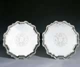 A pair of salvers by Peter Archambo, 1731/2, (DUN.S.469 a & b). Part of the silver collection at Dunham Massey, photographed for the Country House Silver book.