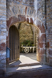 The main door opening into the courtyard at Compton Castle, Devon