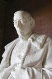 Head of the marble statue of Disraeli in his robes as Chancellor of the Exchequer, by Charles Bell Birch, ARA, (1832-93) in the Entrance Arcade at Hughenden Manor, Buckinghamshire, home of prime minister Benjamin Disraeli between 1848 and 1881