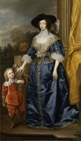 QUEEN HENRIETTA MARIA OF FRANCE (1609-69) AND HER DWARF, JEFFERY HUDSON (1619-82) after Sir Anthony van Dyck (1599-1641) in the Carved Room at Petworth House