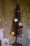 Decorative Christmas tree at the Christmas fair at Lacock Abbey, near Chippenham, Wiltshire