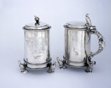 A pair of Charles II tankards by Thomas Jenkins, 1671, (DUN.S.281). Part of the silver collection at Dunham Massey, photographed for the Country House Silver book.
