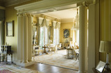 The view through the columned arch from the Southern half of the Drawing Room to the Northern half, at Hinton Ampner, Hampshire