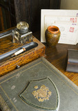 Details of the writing desk in the Library at Plas yn Rhiw, Pwllheli, Gwynedd