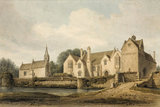 """North West View of Great Chalfield House and Church, Wiltshire"" - a watercolour painting by J.C.Buckler, 1823."