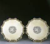 A pair of George II silver gilt salvers by Peter Archambo, 1731/2, (DUN.S.271) part of the silver collection at Dunham Massey, photographed for the Country House Silver book.