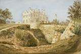 THE NEW HOUSE FROM BELOW THE QUARRY , a watercolour painting by Edward Hussey c.1845, in the new house at Scotney Castle, Kent.
