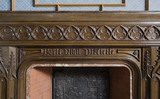 "Benjamin Disraeli's motto ""Forti Nihil Difficile"" (To the Brave Nothing is Difficult) on the carved wooden chimneypiece in the Dining Room at Hughenden Manor, High Wycombe, Buckinghamshire"