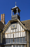 The clock and bell tower on the North Range of the Courtyard at Ightham Mote, Sevenoaks, Kent, a fourteenth-century moated manor house