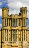 Close view of the top part of the sixteenth-century Gate Tower on the West Front at Coughton Court, Warwickshire