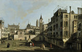 VIEW IN VENICE, Campo San Stin, by Bernardo Bellotto, 1720-1780, at Penrhyn Castle