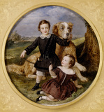 THE GIBBS FAMILY-one of three miniatures by Sir William Charles Ross, R.A. 1849 and 1852. Children George and Henry and the family's pet dog, at Tyntesfield.