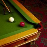 Corner of the Billiard table (set up for a game)