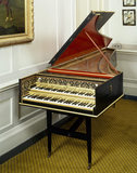 Harpsichord by Ioannes Ruckers, Antwerp, 1612, enlarged (ravalement) in England during C18th, reputed to have been owned by Handel now owned by HM Queen Elizabeth II, at Fenton House