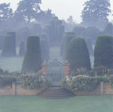 The Yew Garden at Packwood House, shrouded in mist