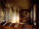 View of the Chapel at Wimpole Hall towards the altar showing Thornhill's trompe l'oeil wall depicting gilded statues of the four doctors of the church