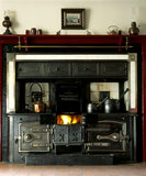 "Close view of the blackleaded kitchen range in the ""New House"" at Cherryburn, built by the brother of the naturalist and artist Thomas Bewick"