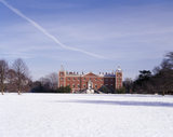 Long view of West front of Osterley Park in the snow