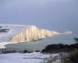 The whiteness of the Seven Sisters competing with the snow