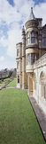 An oblique view along South front of Tyntesfield, from the East Library wall, showing the round turret, elaborate carving & Gothic influence of the Victorian house