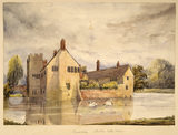BADDESLEY CLINTON HALL by Rebecca Dulcibella Orpen with swans swimming on the moat