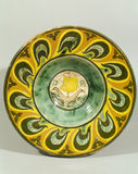 Della Robbia majolica charger in the Morning Room with ship in the centre