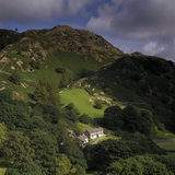 (FL) Low Tilberthwaite Farm and Tilberthwaite cottages taken from Horse Crag near Little Langdale in the Lake District