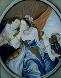 Eighteenth Century Picture of a man and a lady, painted on glass