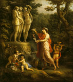 ANACREON GARLANDING THE THREE GRACES by Antonio Zucchio (1726-1795) from Osterley Park