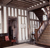 View of the timber beamed Hall and Staircase at Paycockes
