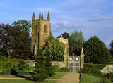 A view of Priory Church from a view from the garden at the house