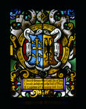 Detail of Thomas Willement's 19th-century armorial stained glass from the Dining Room at Charlecote, depicting the arms of Edmund the Exile and his wife Agatha, daughter of Henry III of Germany