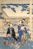 A Japanese Print, showing two ladies in a garden one of a collection of prints housed at Standen