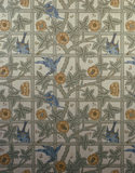 "Detail of ""Trellis"" wallpaper in the Lobby by Morris and incorporating birds drawn by Philip Webb at Standen"