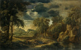 Classical Landscape by Gaspard Poussin (or Dughet ) 1615-75 at Osterley Park which was given to NT by Sir Dennis Mahon in 1996