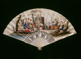An early C18th. paper fan painted with a Bacchanalian procession.