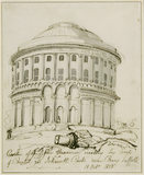 Pen and ink drawing of the Rotunda at Ickworth